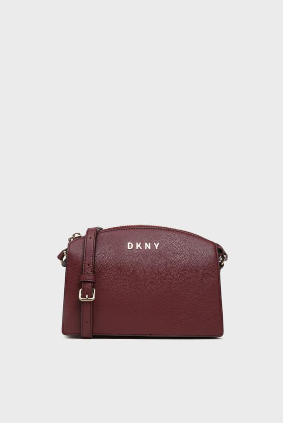 Женская бордовая кожаная сумка через плечо CLARA