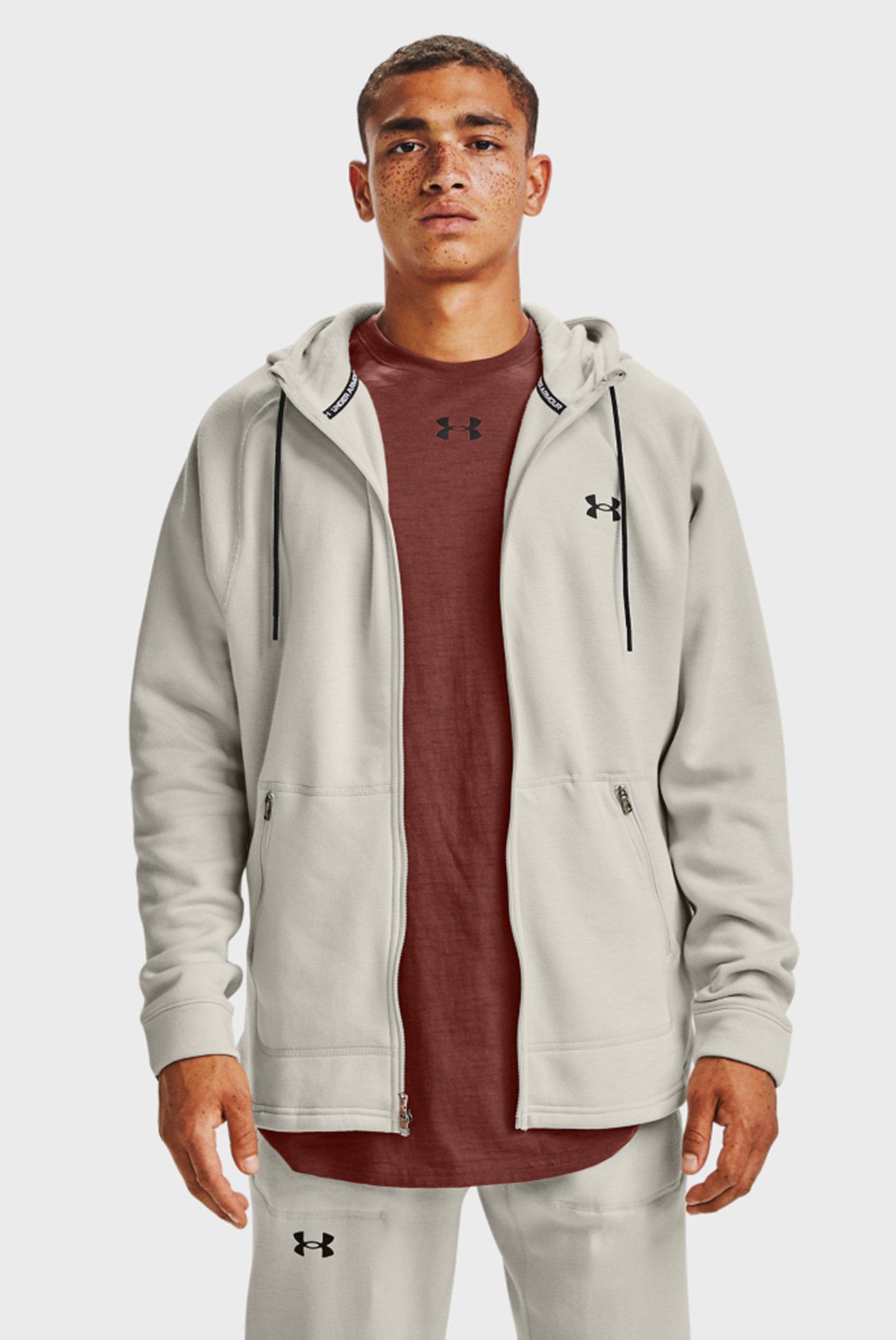 Чоловіче біле худі UA Charged Cotton FLC FZ HD 1