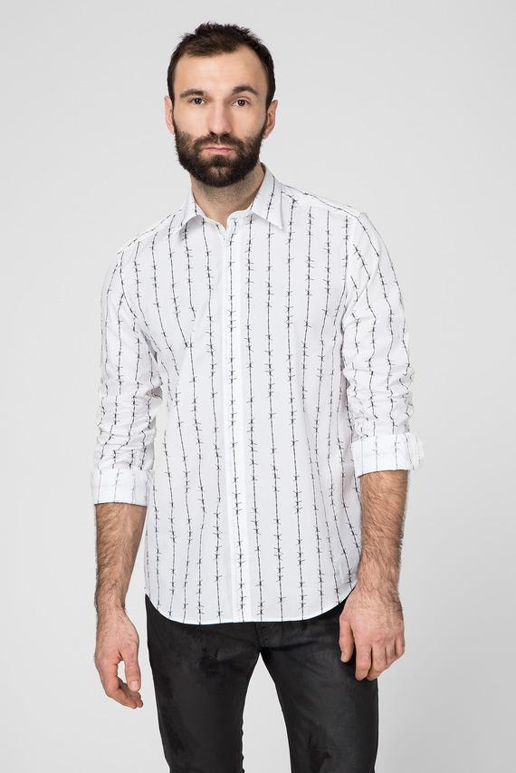 Мужская белая рубашка c принтом S-BARBWI