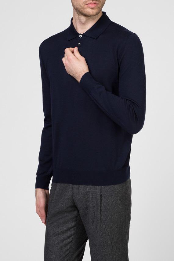 Мужское темно-синее кашемировое поло
