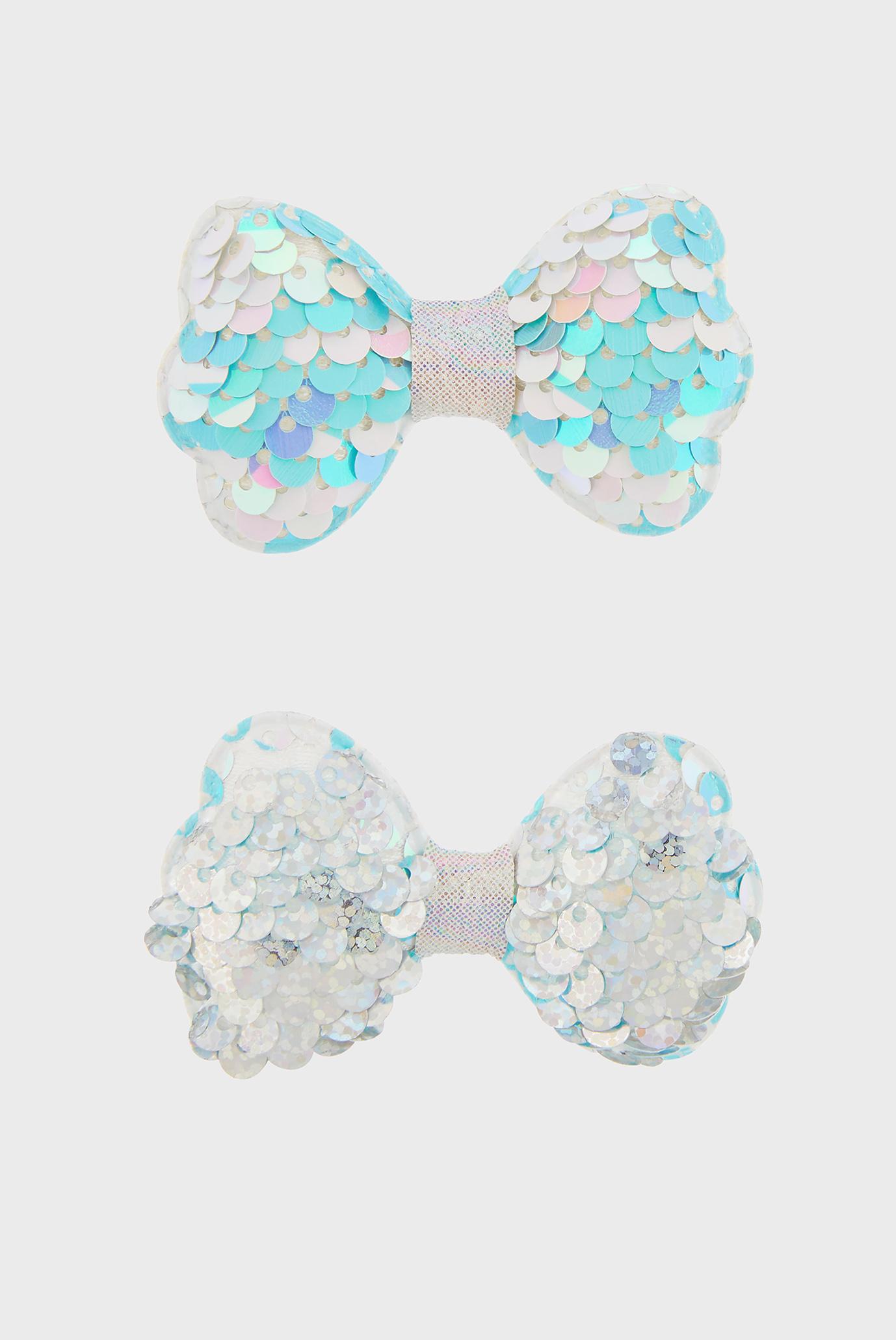 Детские голубые заколки Sequin Bow Clips (2 шт) Monsoon Children