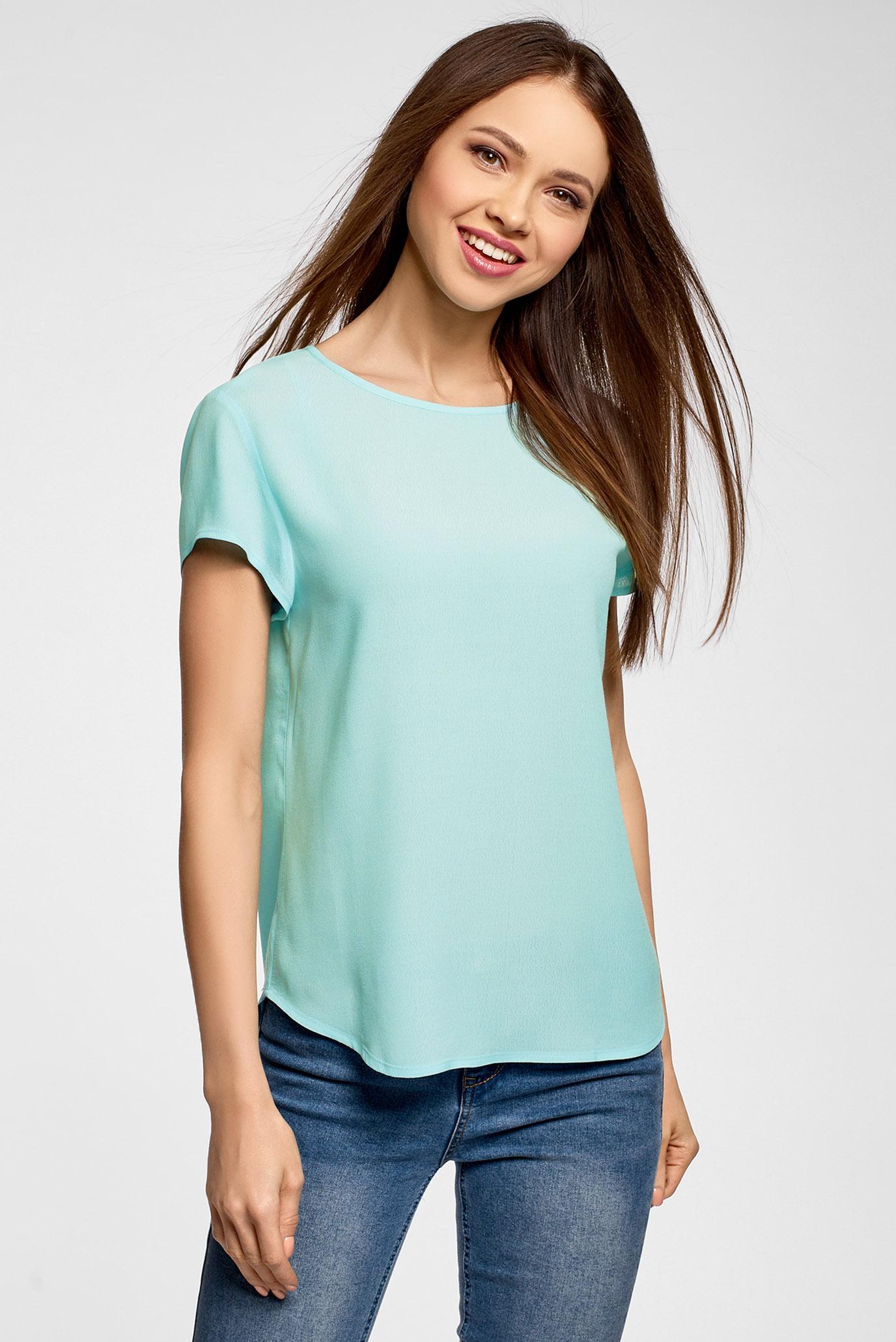 Купить Женская голубая блуза Oodji Oodji 11411138B/46249/7001N – Киев, Украина. Цены в интернет магазине MD Fashion