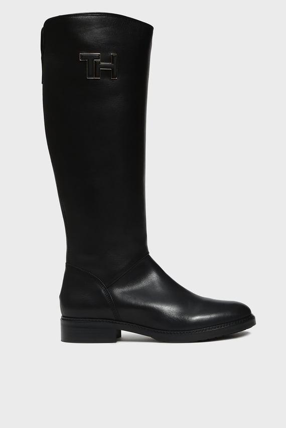 Женские черные кожаные сапоги