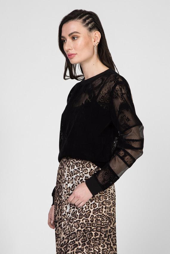 Женский черный кружевной свитшот