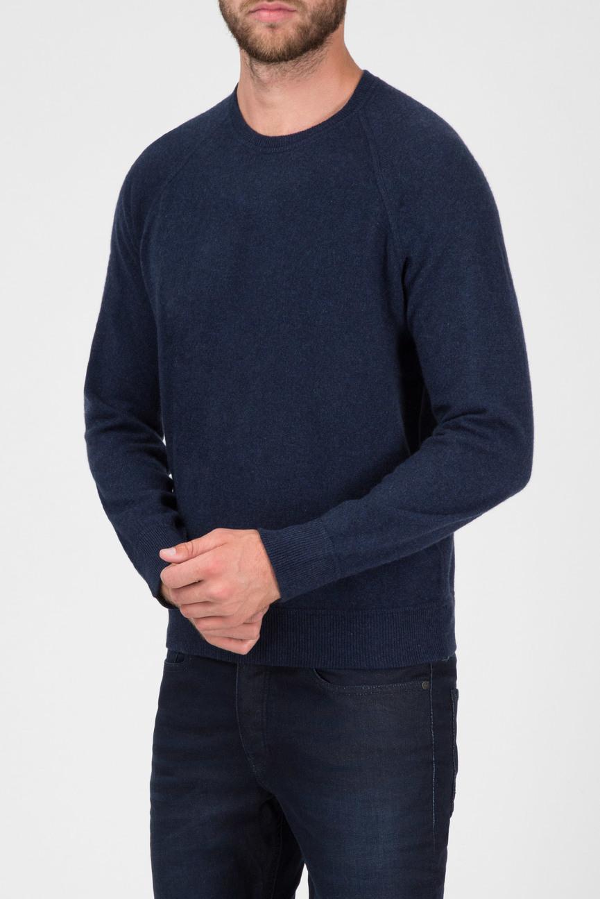Мужской темно-синий кашемировый джемпер