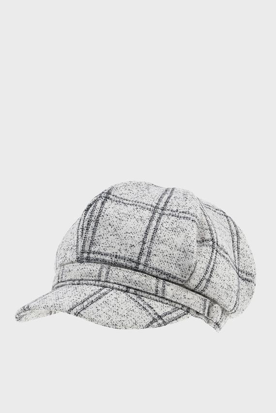 Женская серая кепка CHECK PANEL BAKERBOY