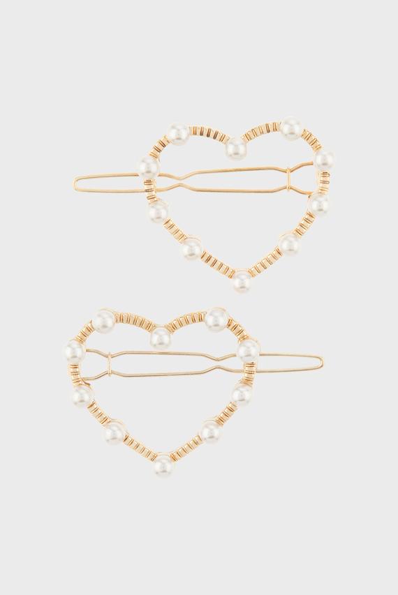 Детские золотистые заколки (2 шт) PEARL HEART SLIDE