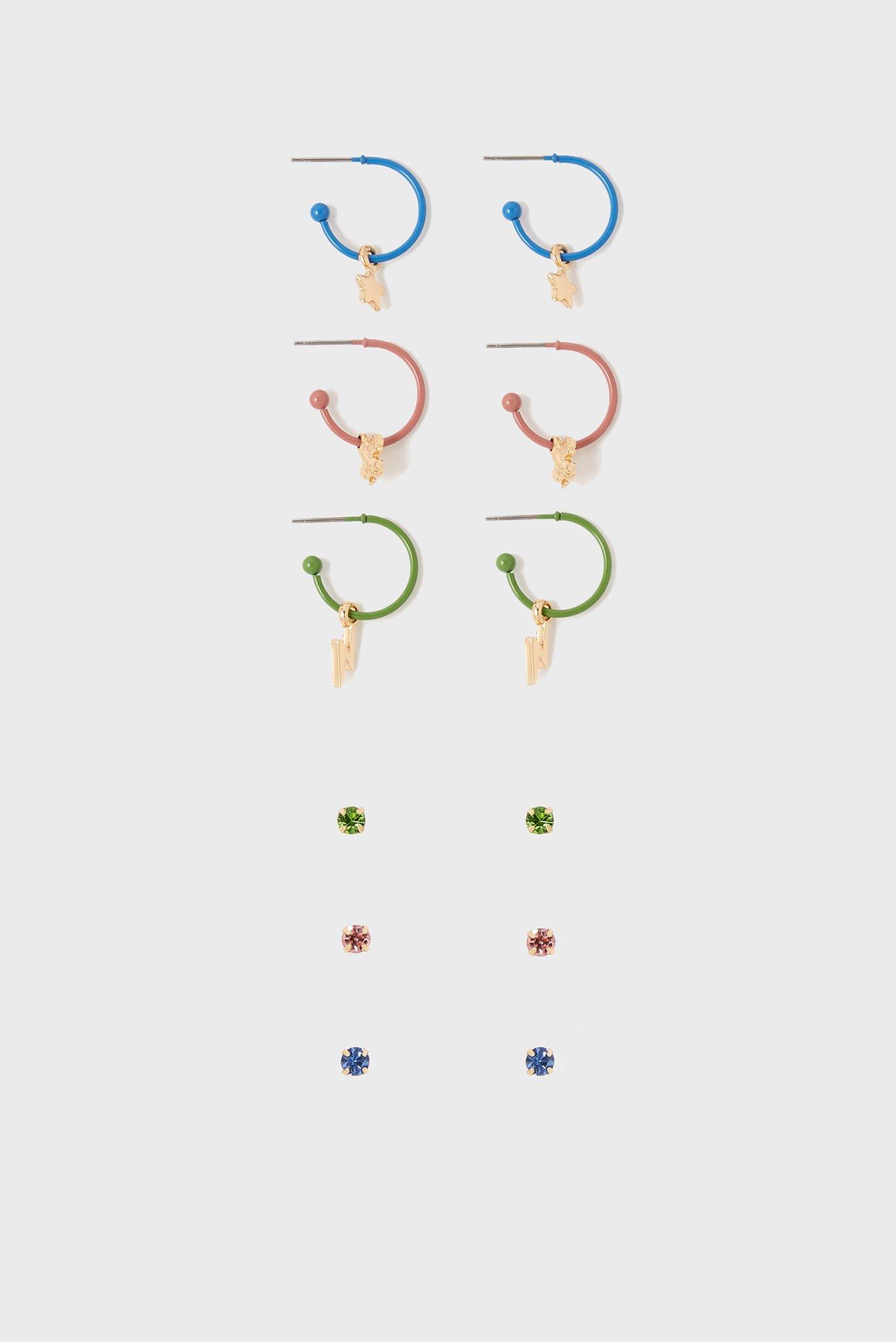 Женские серьги (6 пар) CUTE ENAMEL STUD 1