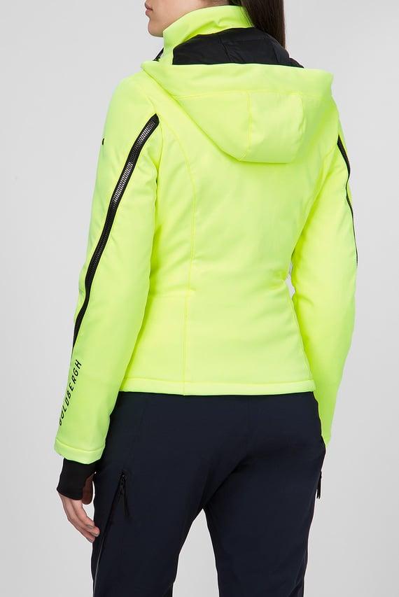 Женская салатовая пуховая лыжная куртка