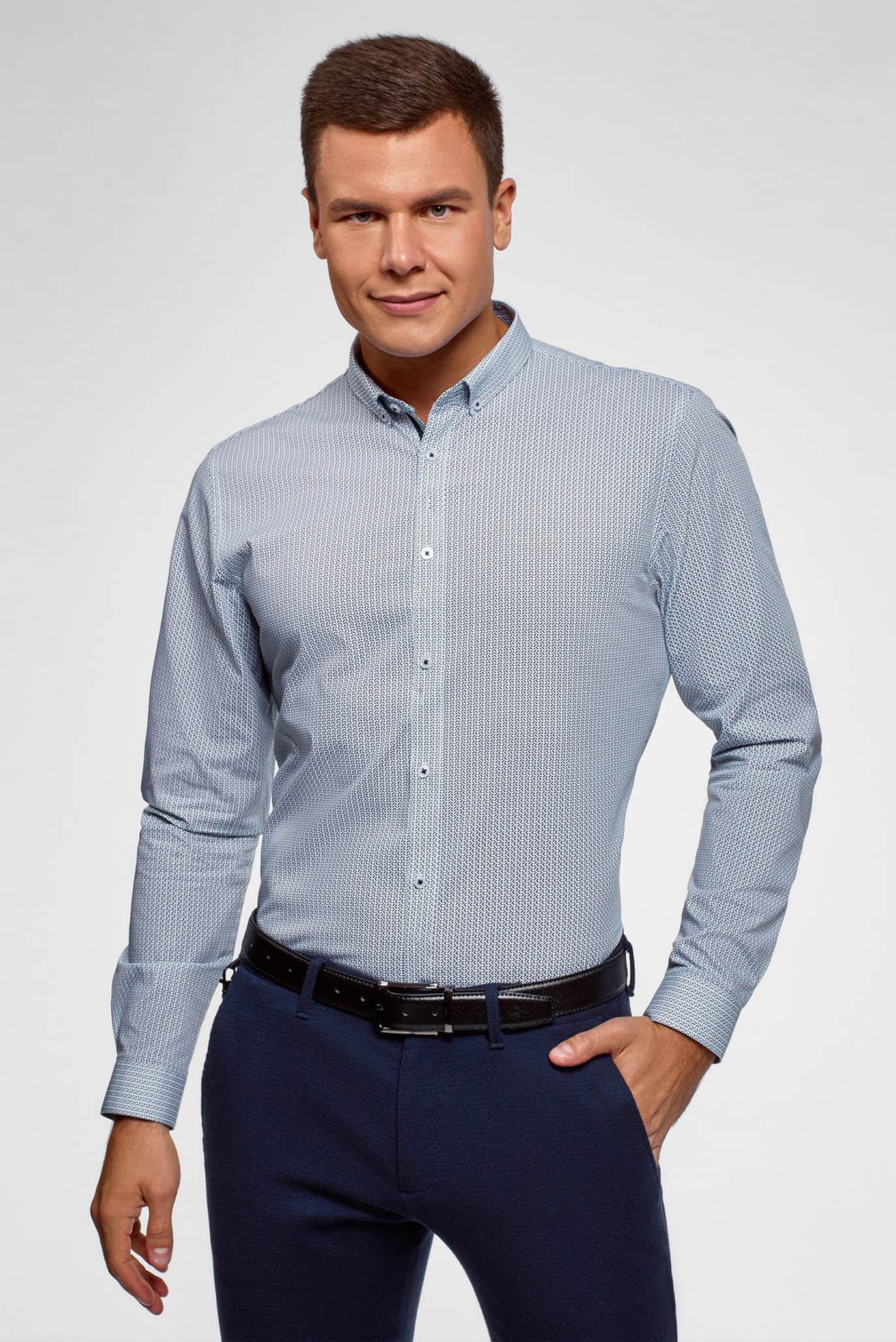 Мужская голубая рубашка с принтом Oodji
