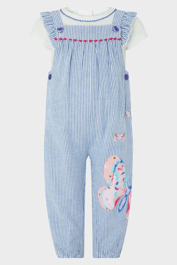 Детский голубой костюм (футболка, комбинезон) Baby DelilahDungaree