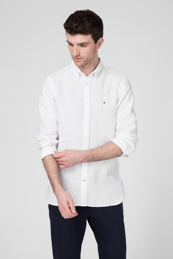 Мужская белая льняная рубашка