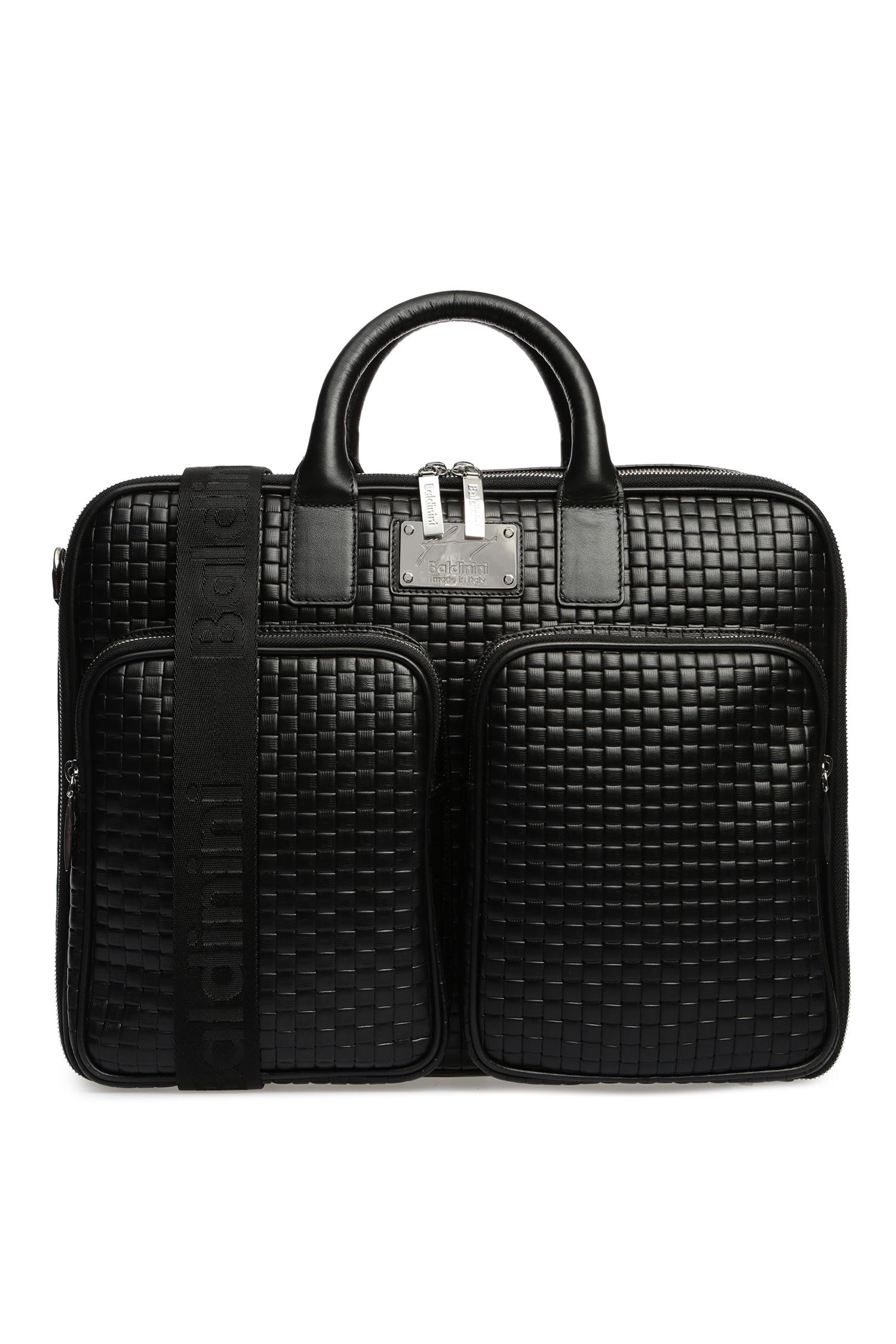 Мужская черная кожаная дорожная сумка Baldinini