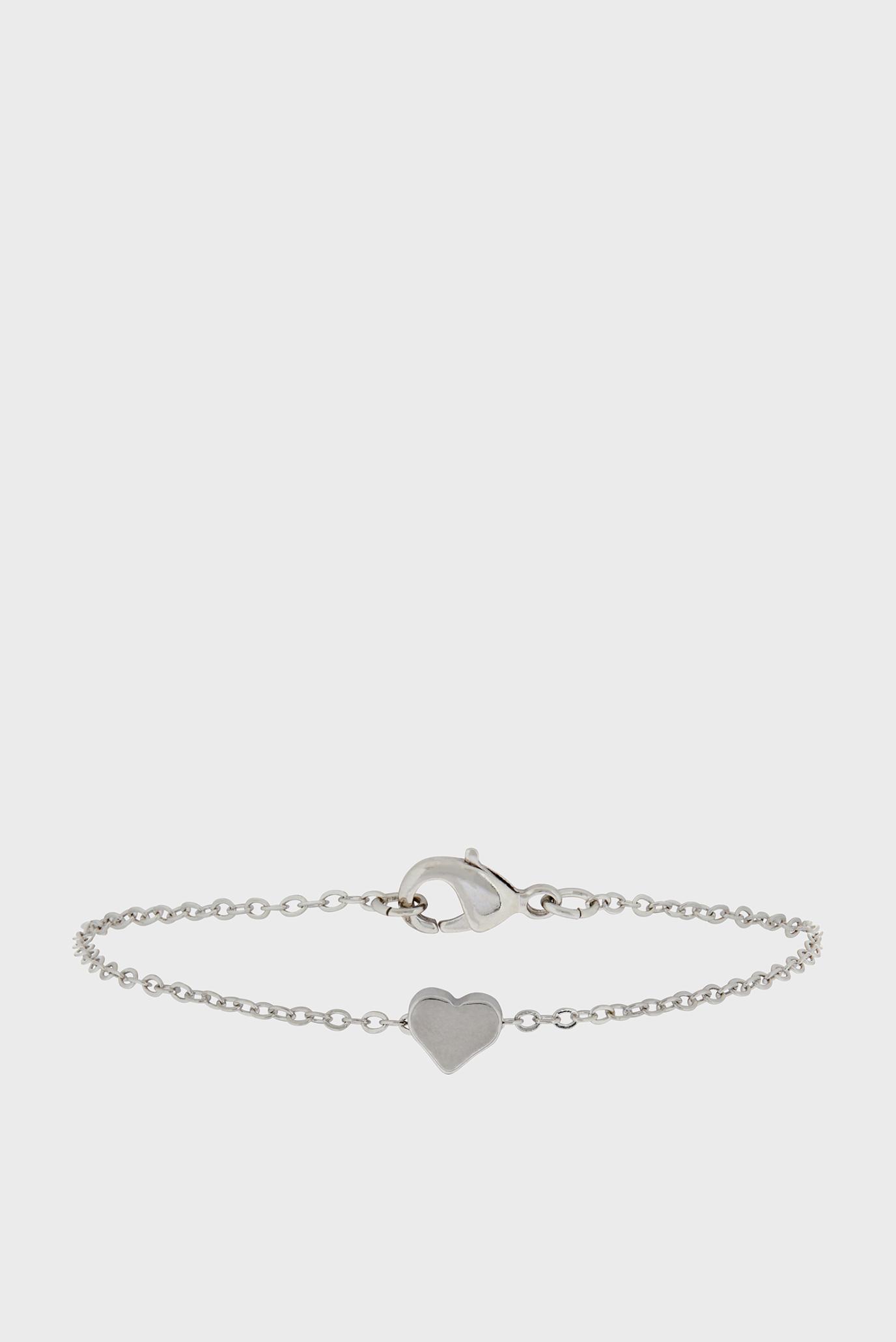Жіночий сріблястий браслет SOLID HEART CLASP 1
