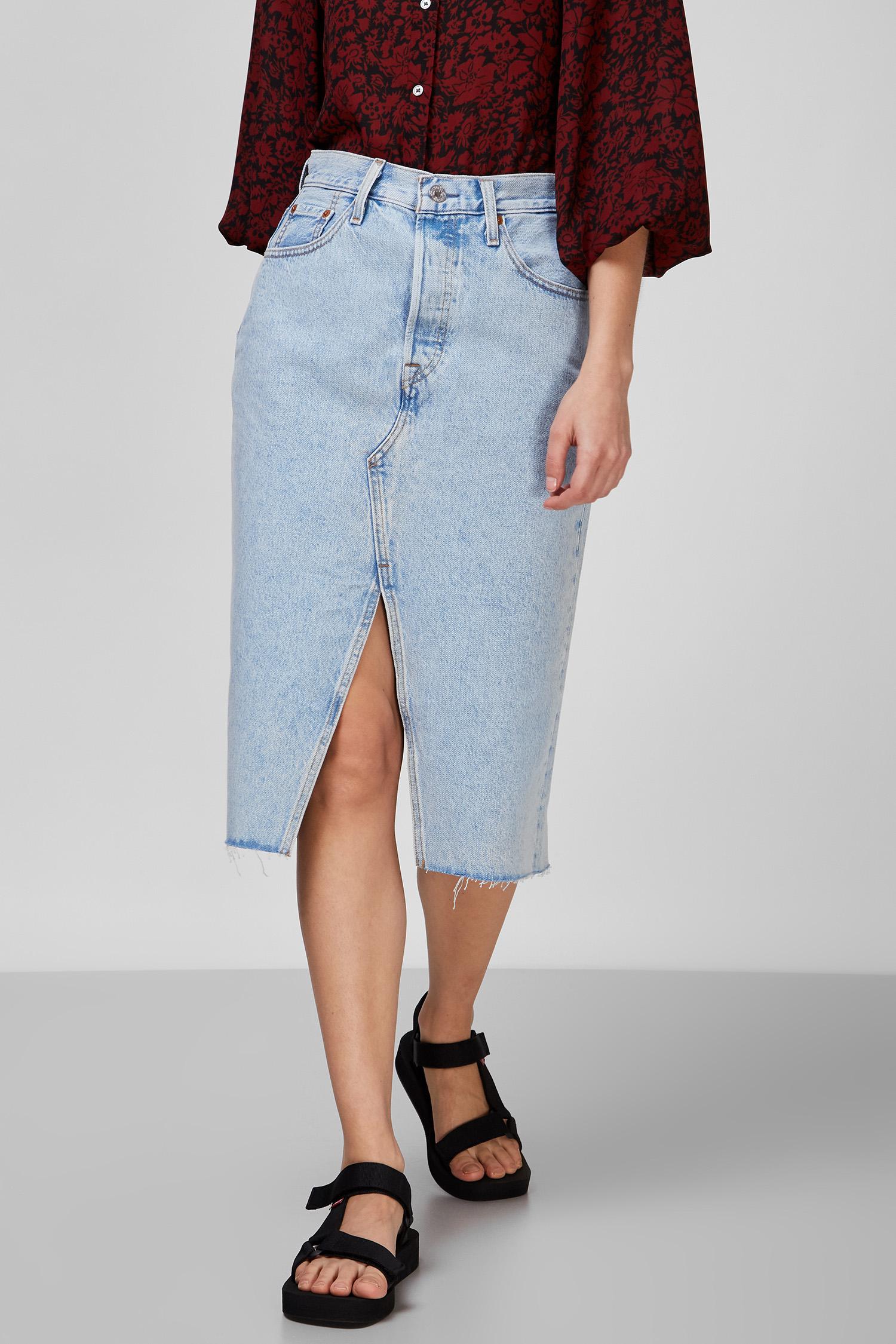 Жіноча блакитна джинсова спідниця 1