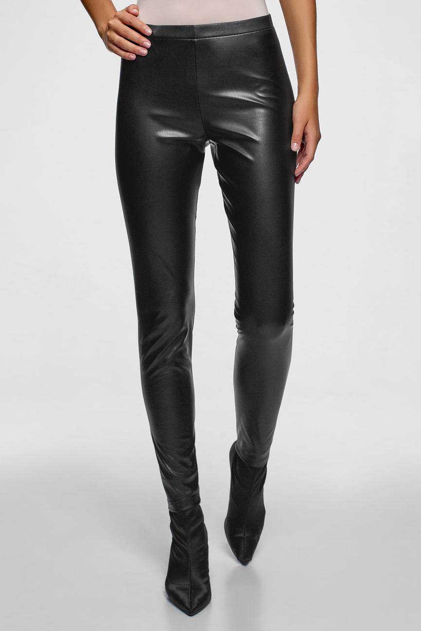 Женские черные брюки из искусственной кожи