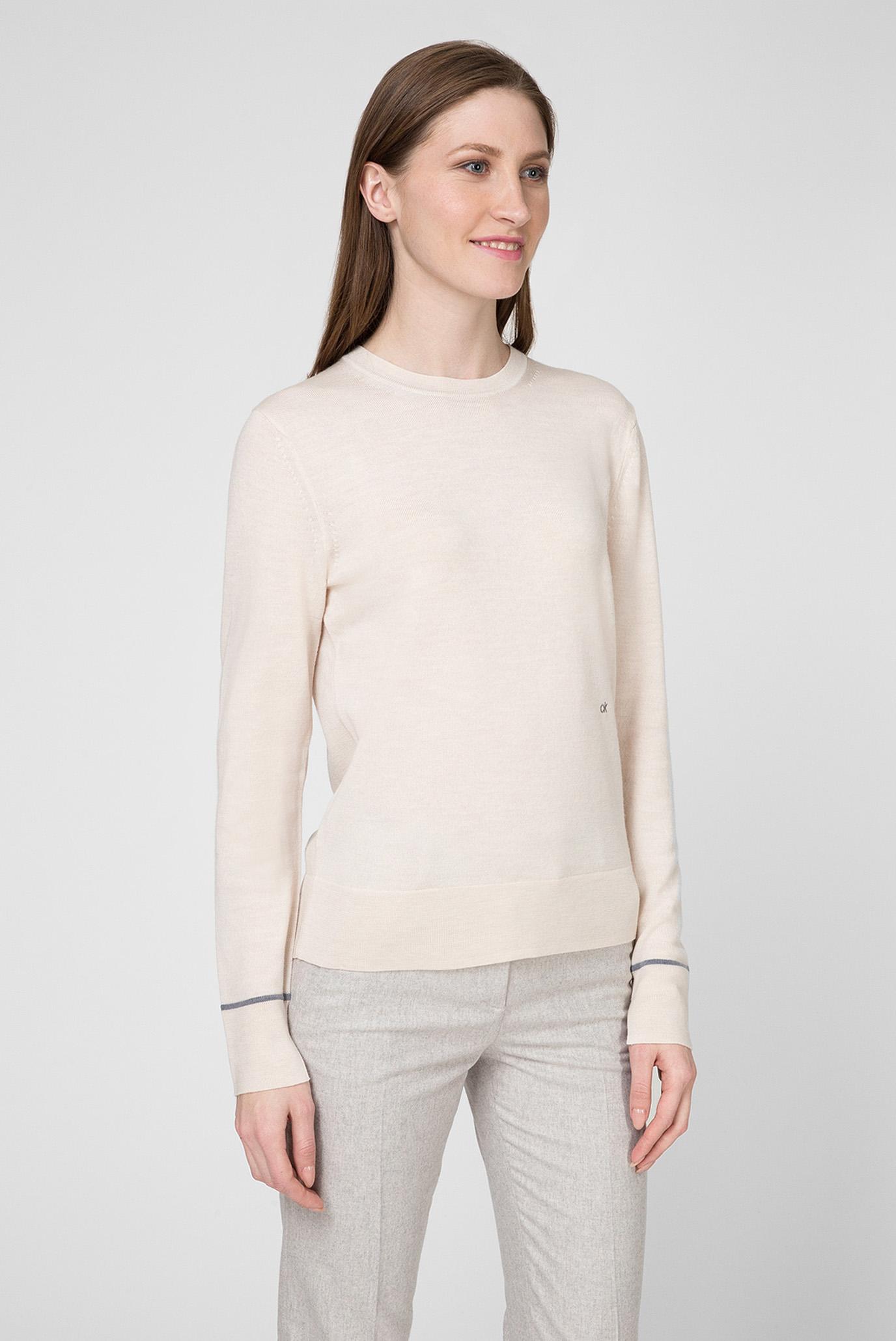 Женский бежевый шерстяной джемпер SUPERFINE Calvin Klein