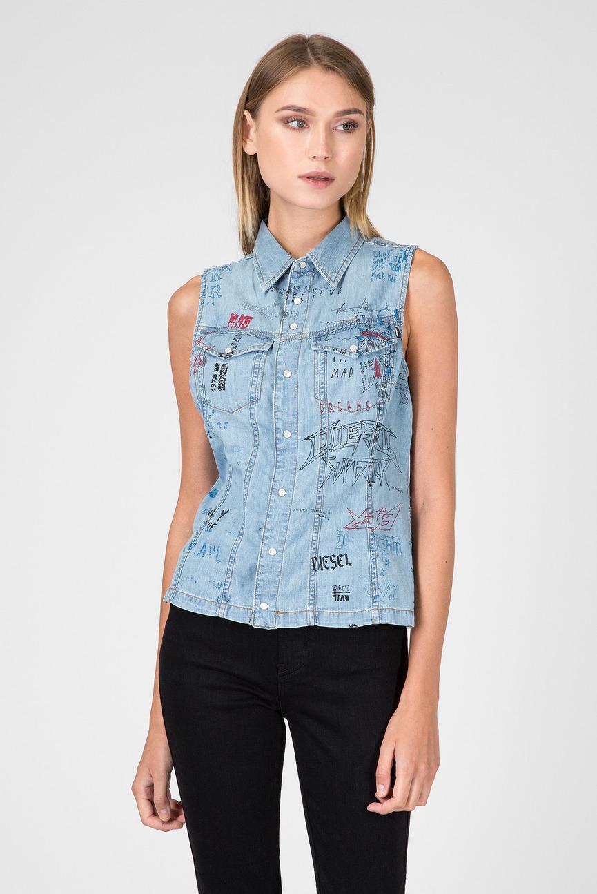 Женский голубой джинсовый жилет