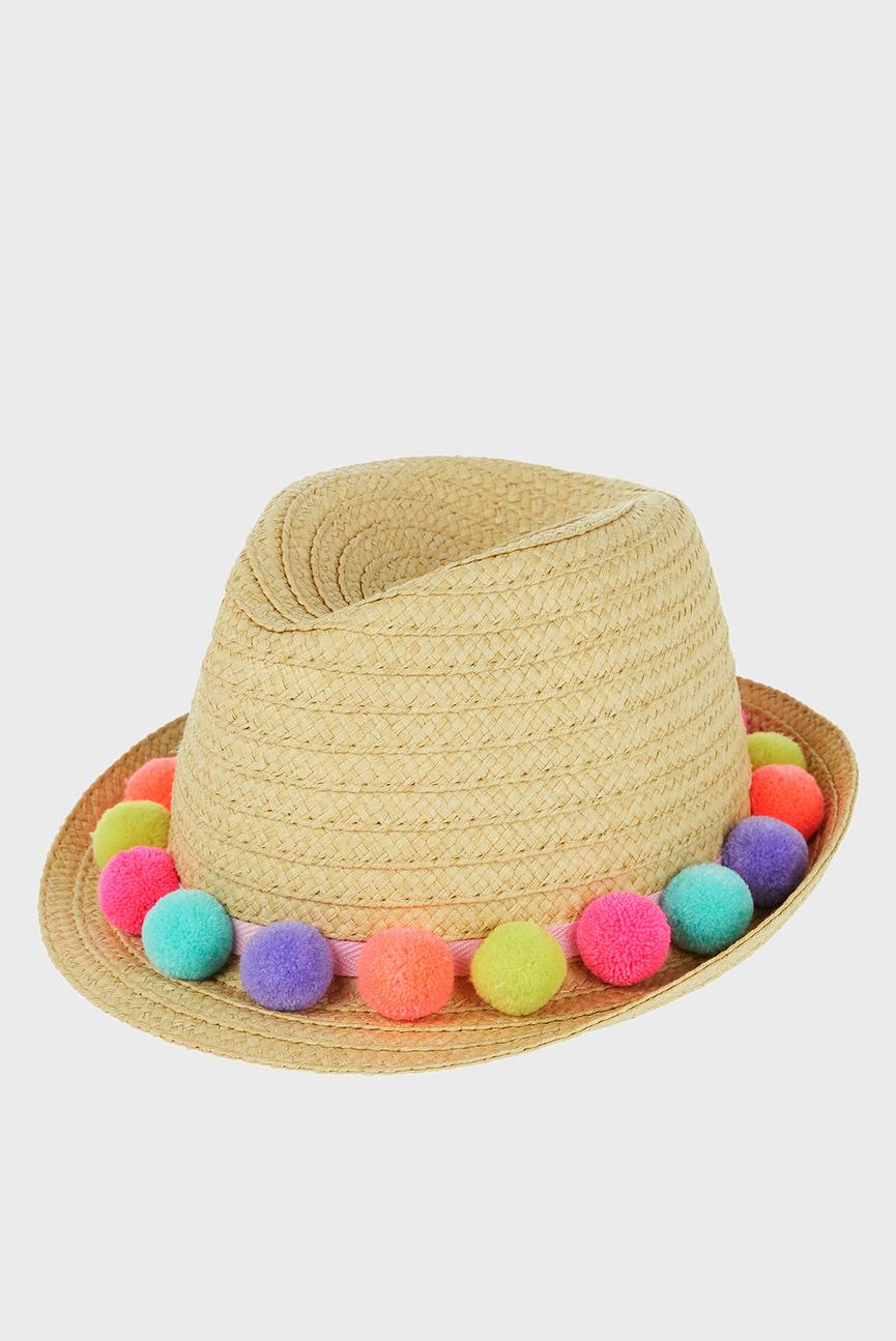 Детская бежевая шляпа POM POM