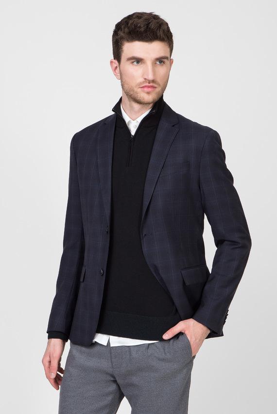 Мужской темно-синий шерстяной пиджак WINDOWPANE S100