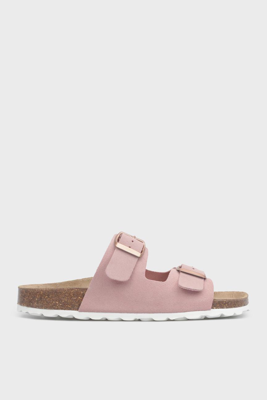 Женские розовые замшевые сандалии