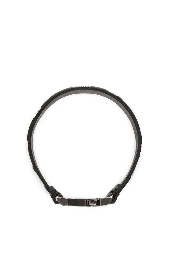Мужской черный кожаный браслет