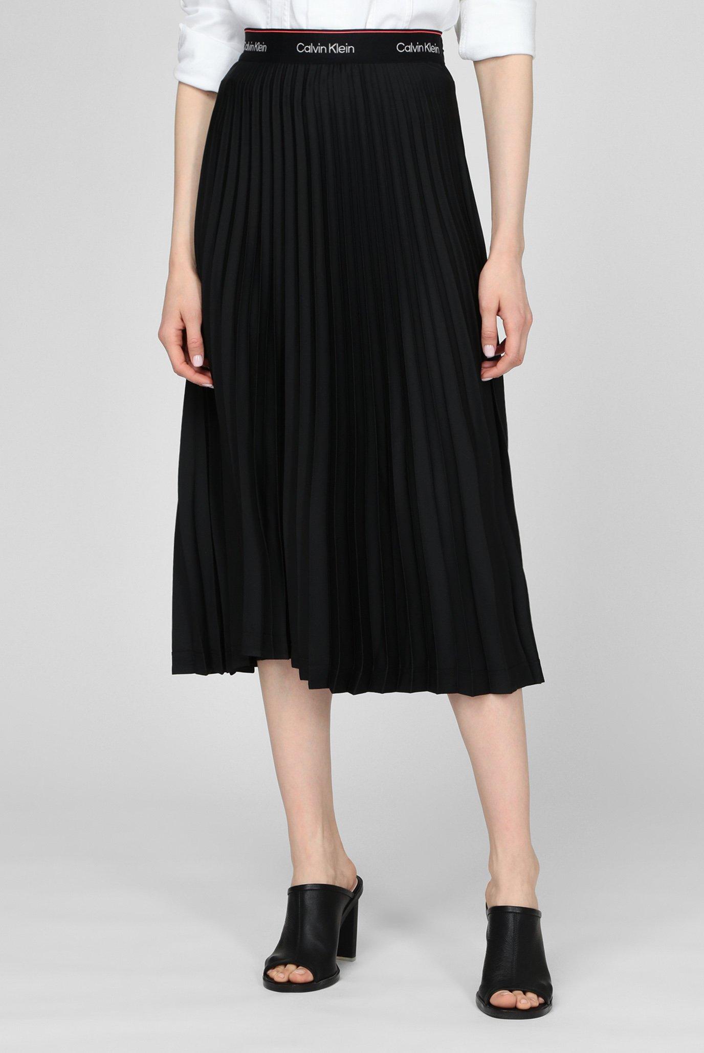 Женская черная плиссированная юбка 1