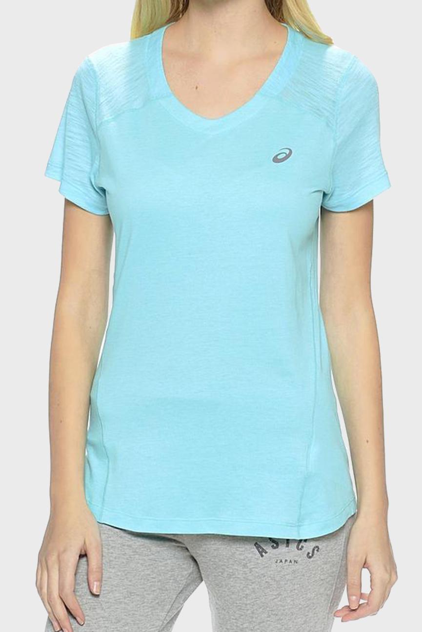 Женская голубая футболка FUZEXаV-NECK SS TOP
