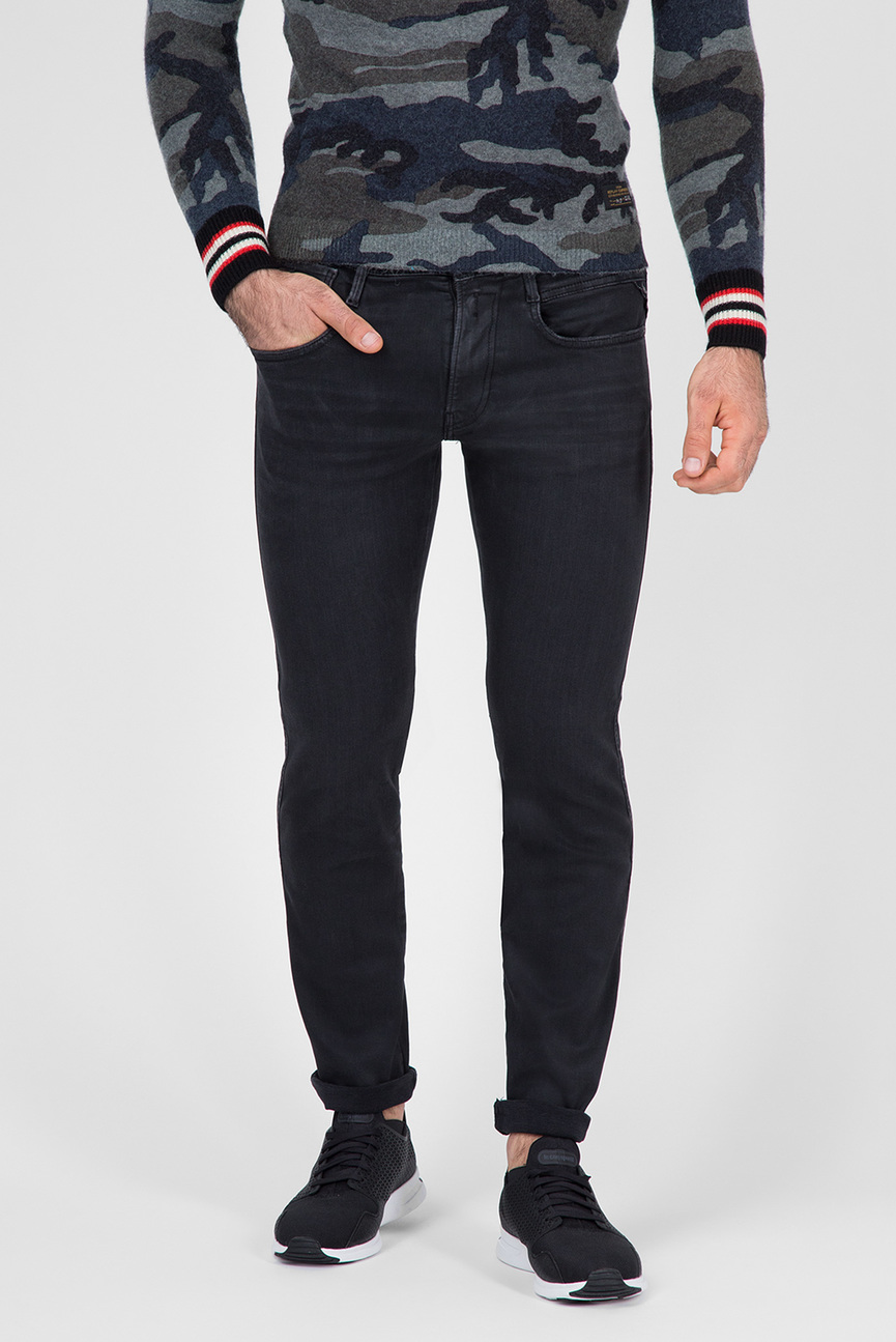 Мужские черные джинсы ANBASS COIN ZIP