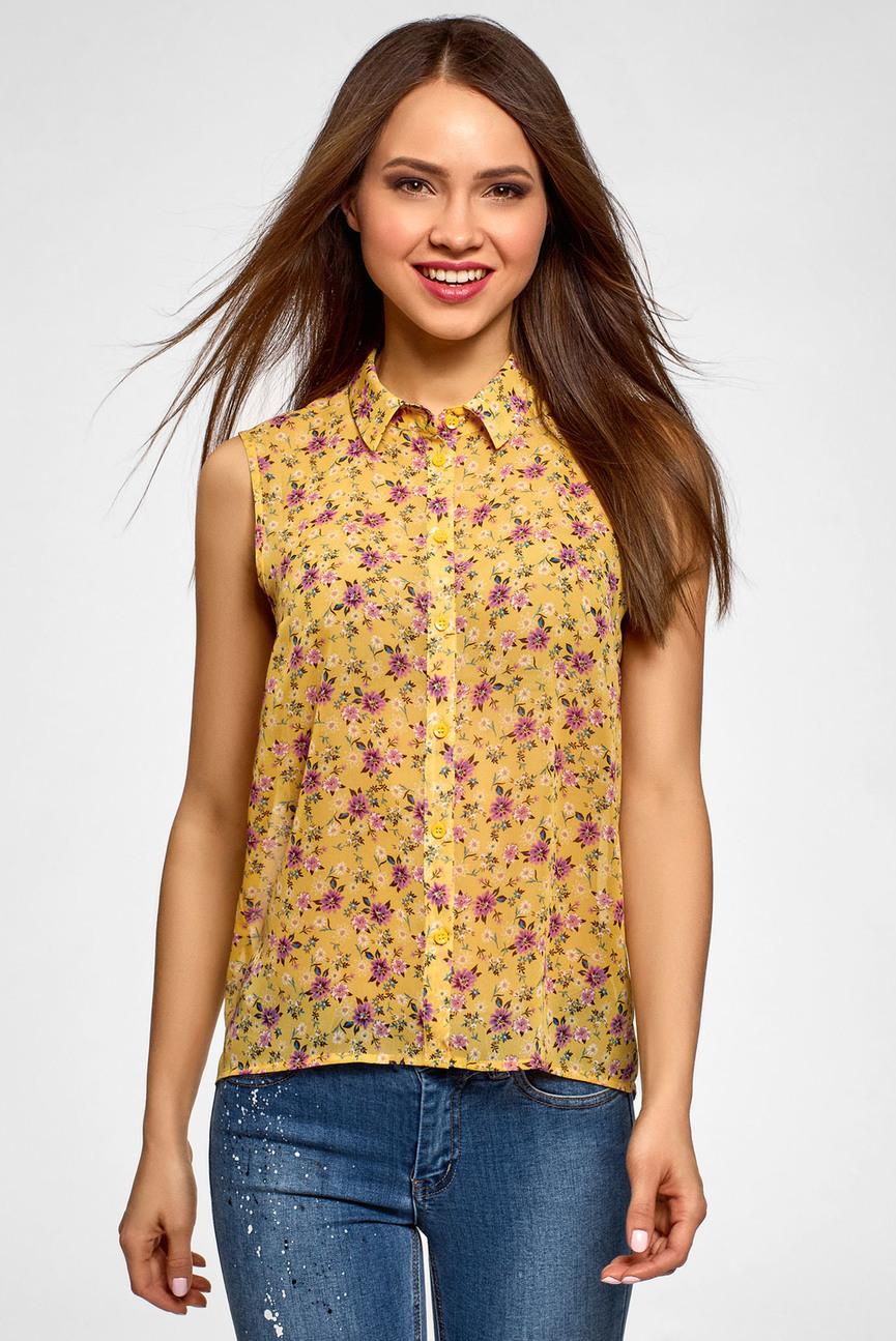 Женская желтая блуза с принтом
