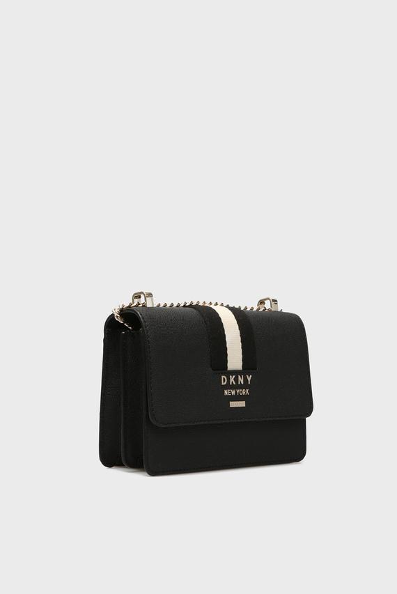 Женская черная кожаная сумка через плечо LIZA