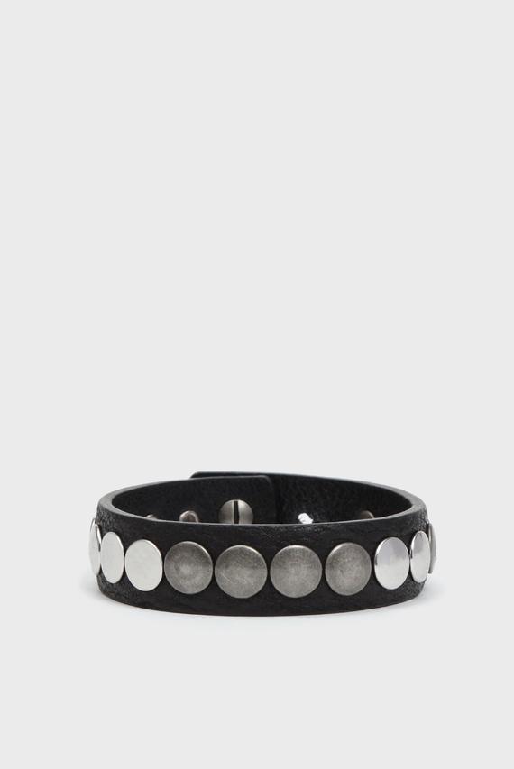 Мужской черный кожаный браслет A-MEOLO