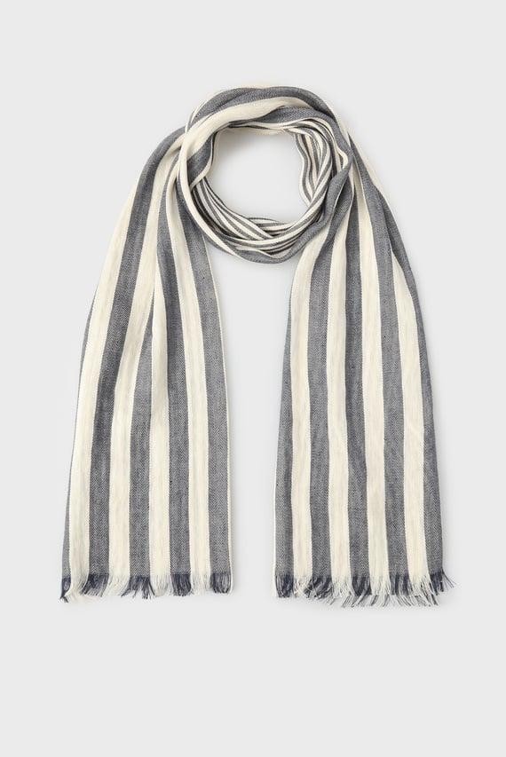 Мужской белый шарф в полоску