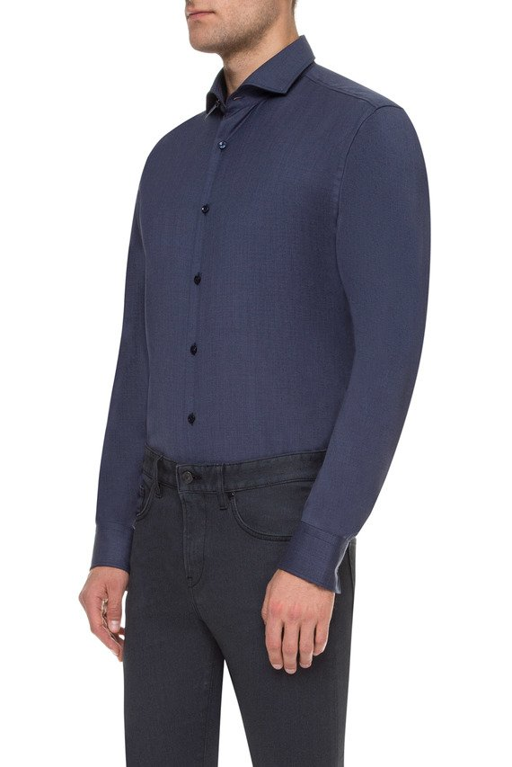 Мужская темно-синяя шерстяная рубашка