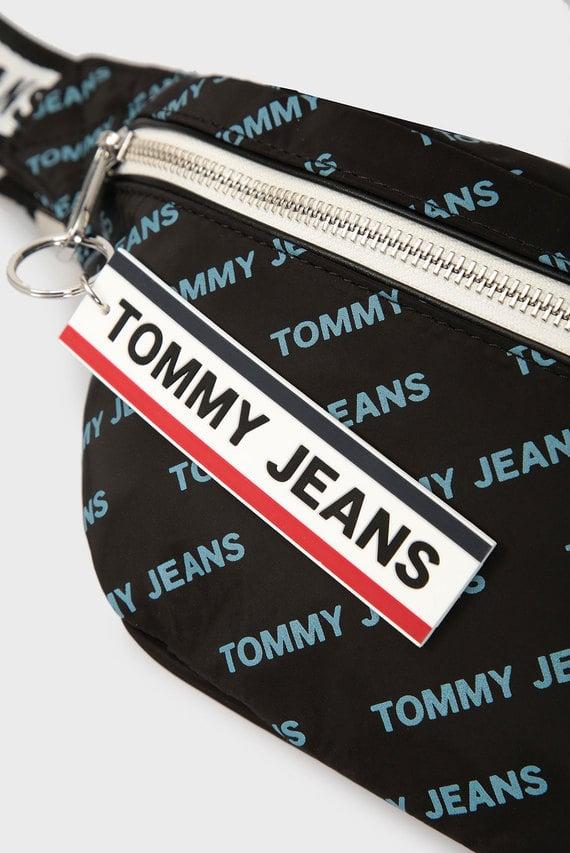 Мужская черная поясная сумка TJM LOGO TAPE