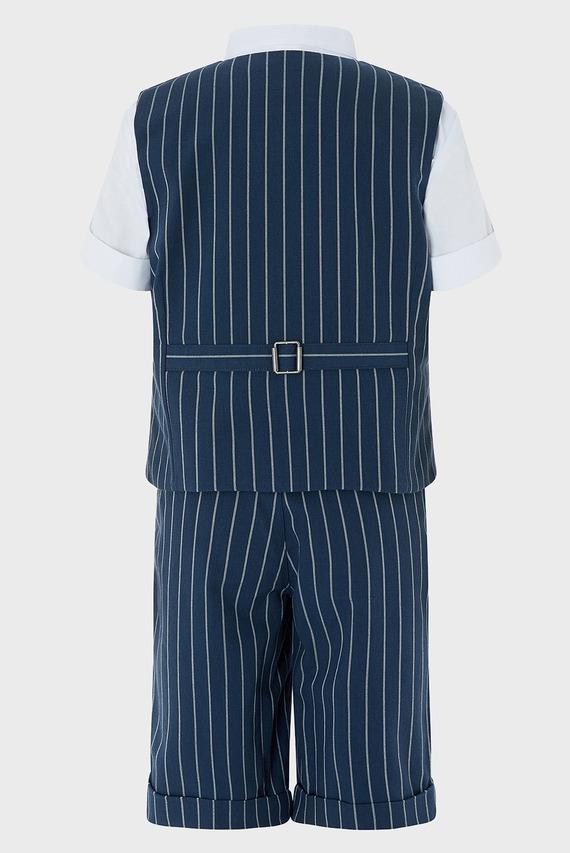 Детский синий костюм Finn (жилет, рубашка, брюки)