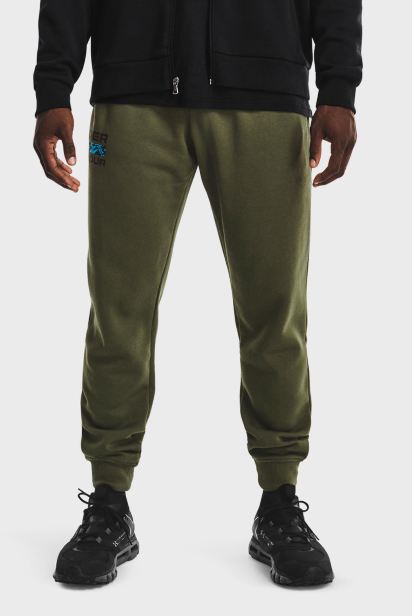 Мужские зеленые спортивные брюки UA RIVAL FLC SIGNATURE JGR 1