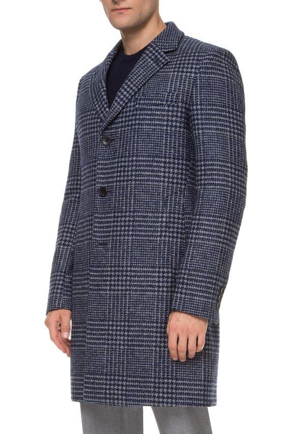 Мужское синее шерстяное пальто в клетку