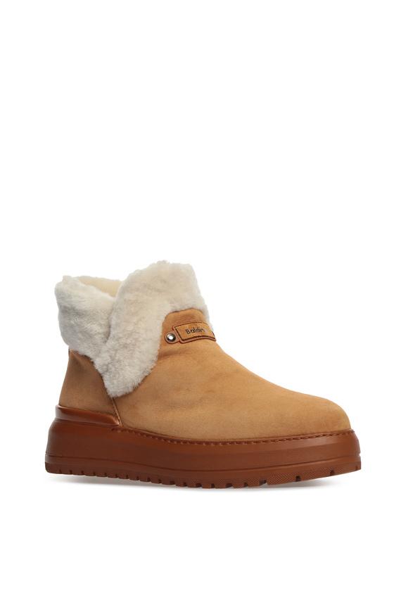 Женские бежевые замшевые ботинки с мехом