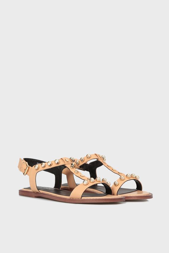 Женские бежевые кожаные сандалии Iness