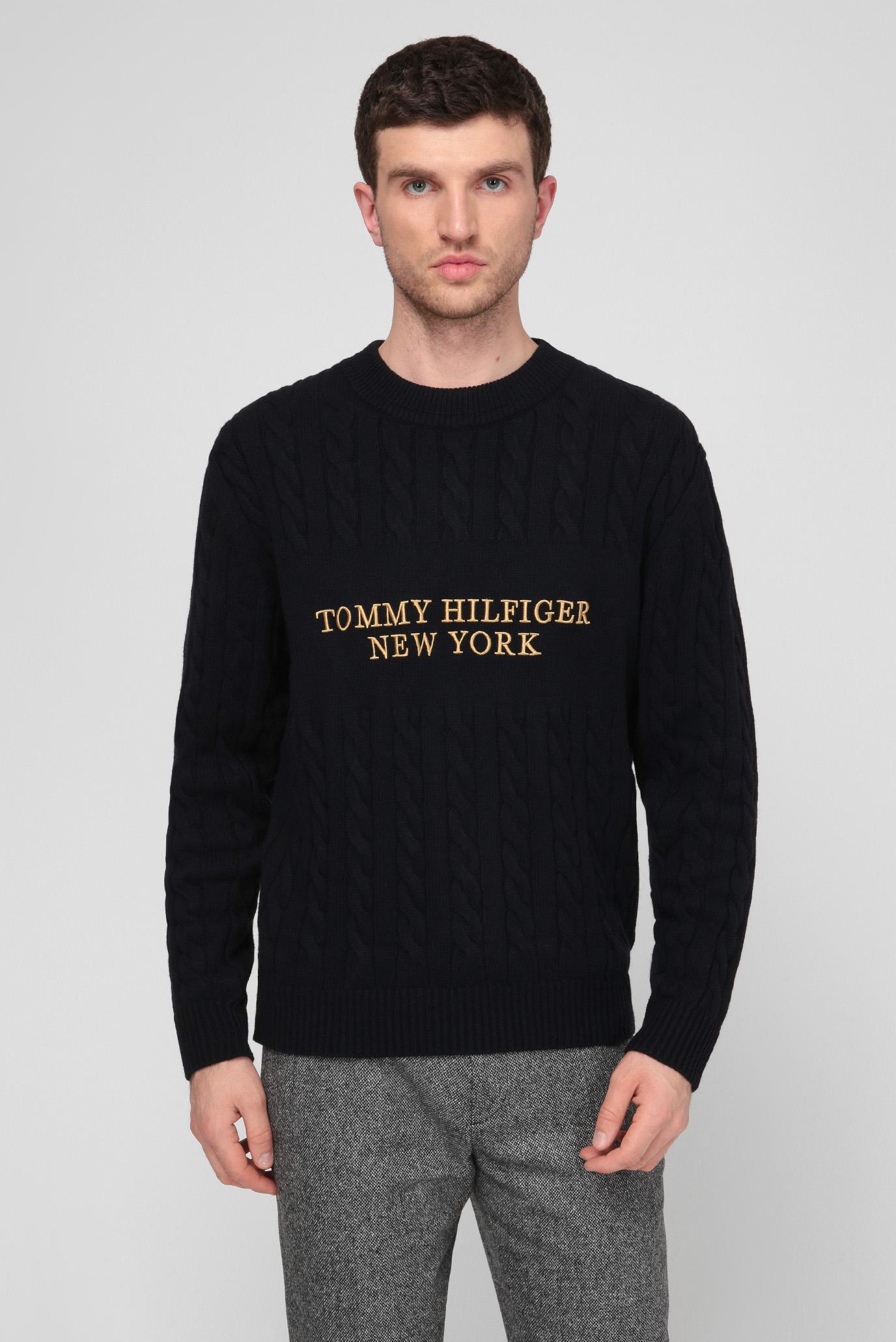 Мужской темно-синий свитер GRAPHIC CABLE 1