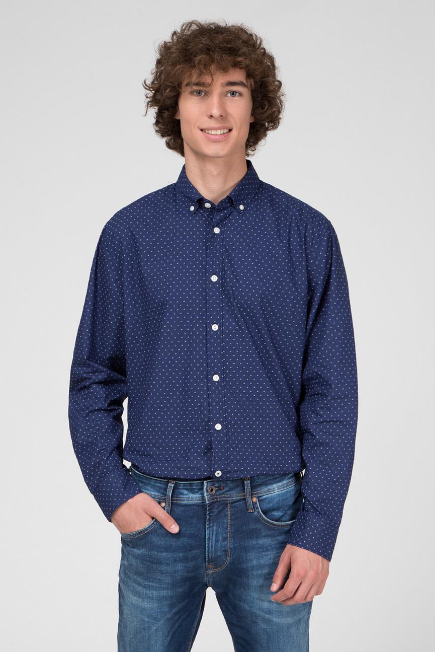 Мужская темно-синяя рубашка с принтом DAVON