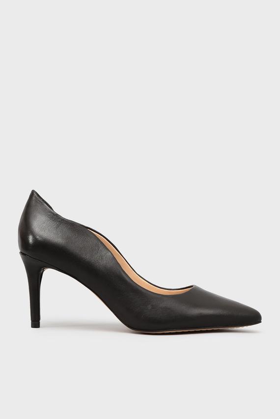 Женские черные кожаные лодочки