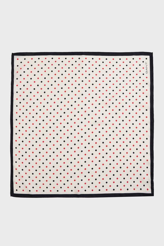 Женский бежевый шелковый платок в горошек POLKA DOT
