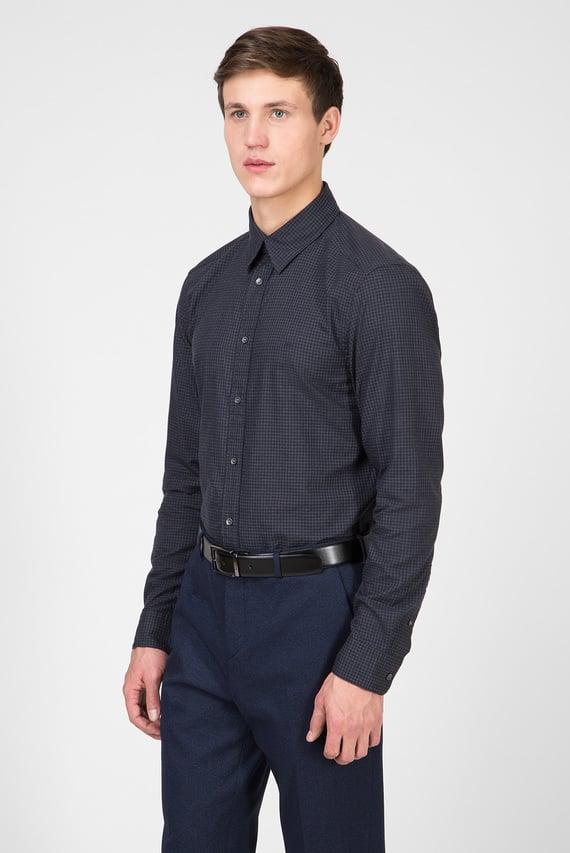 Мужская темно-синяя рубашка в клетку MINI HEATHER GINGHAM