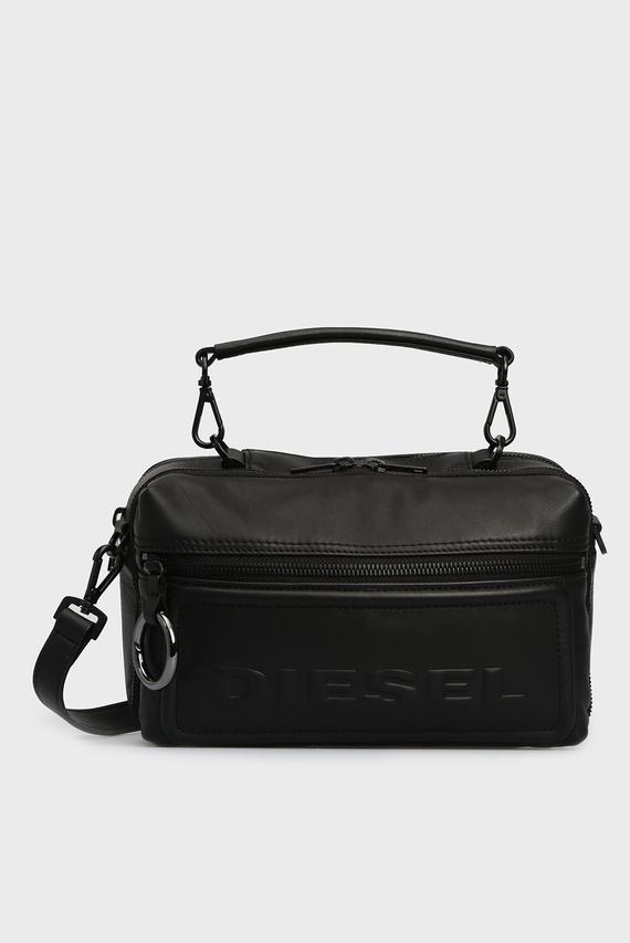 Женская черная кожаная сумка через плечо FUTURAH