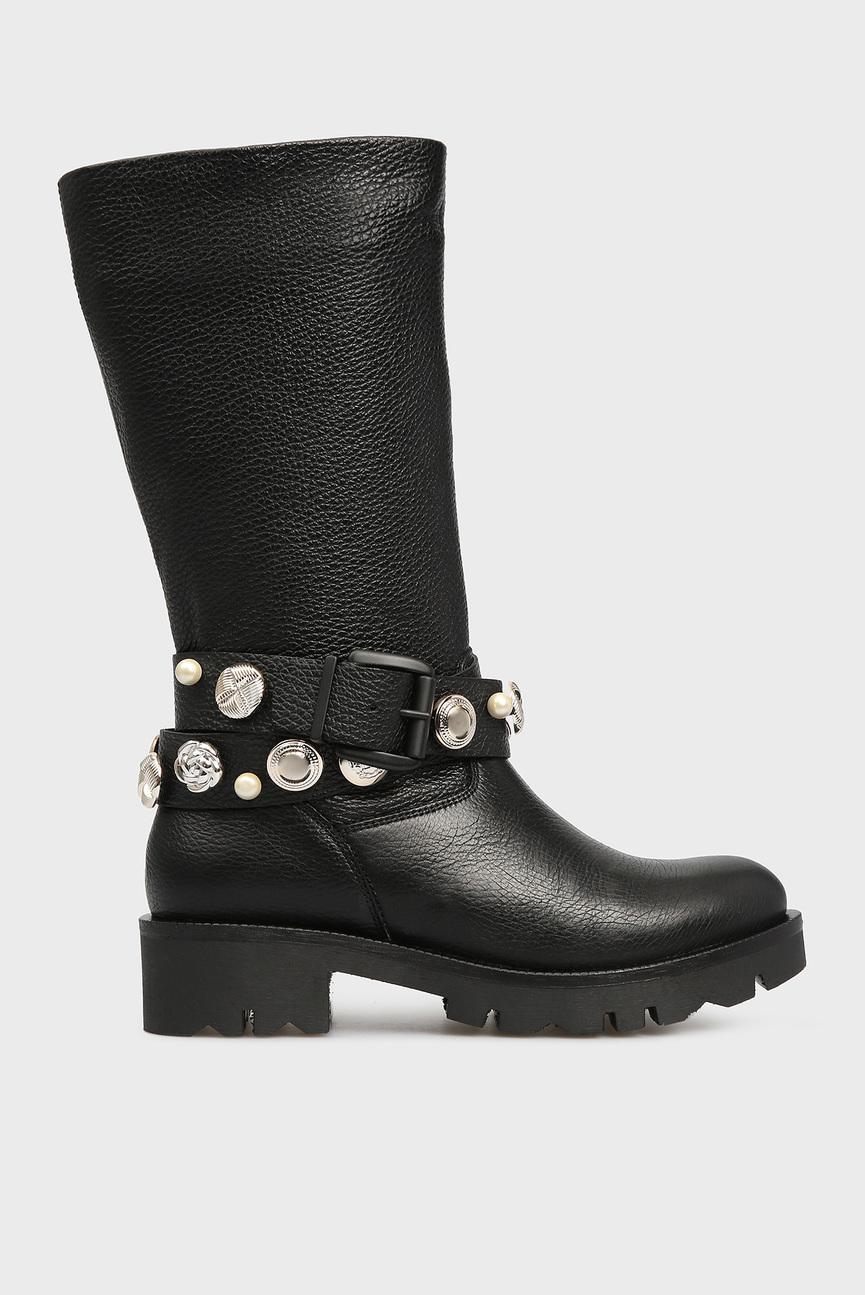Женские черные кожаные сапоги KIRUNA