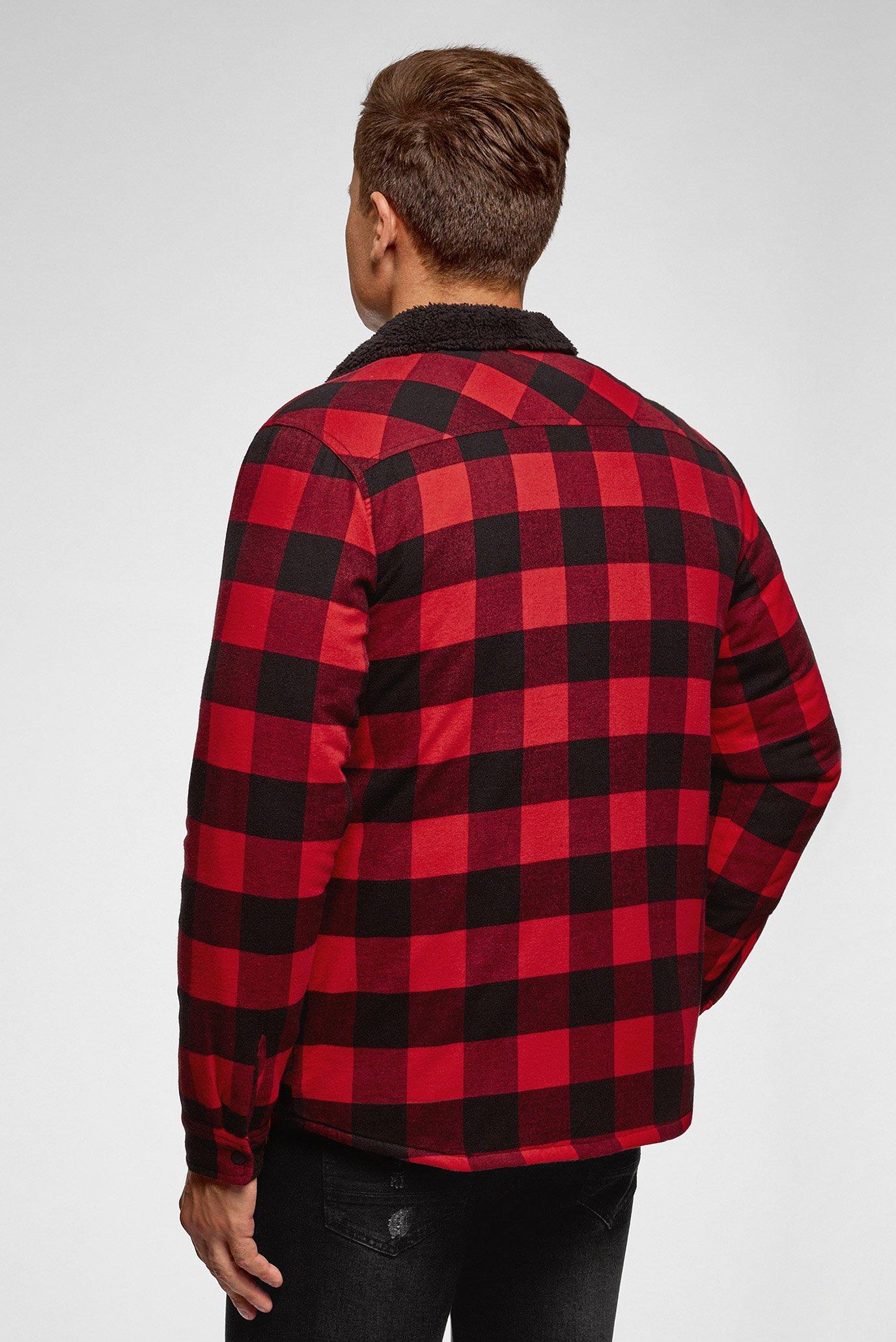Мужская красная рубашка в клетку Oodji