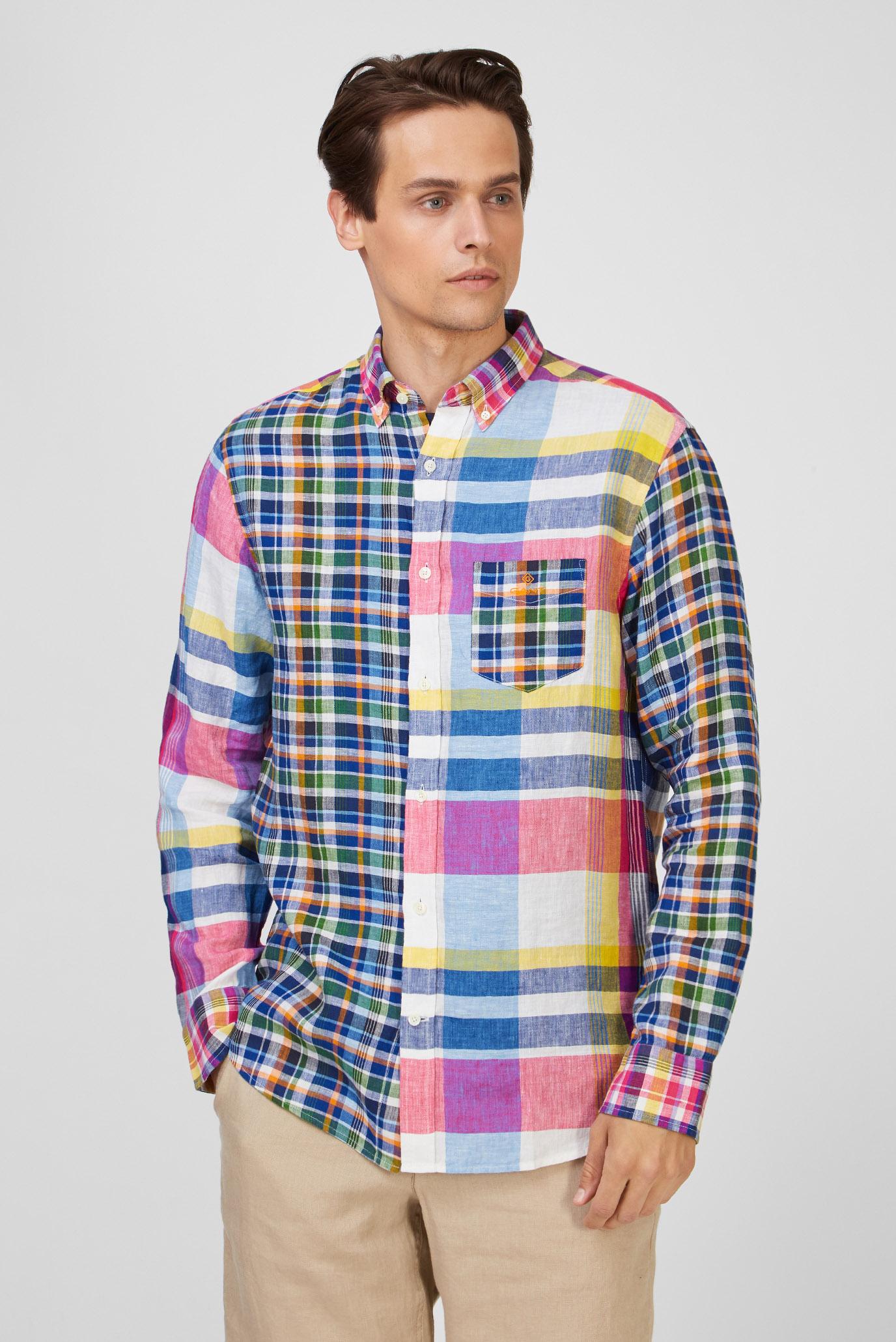 Мужская льняная рубашка в клеточку MADRAS MIXED 1