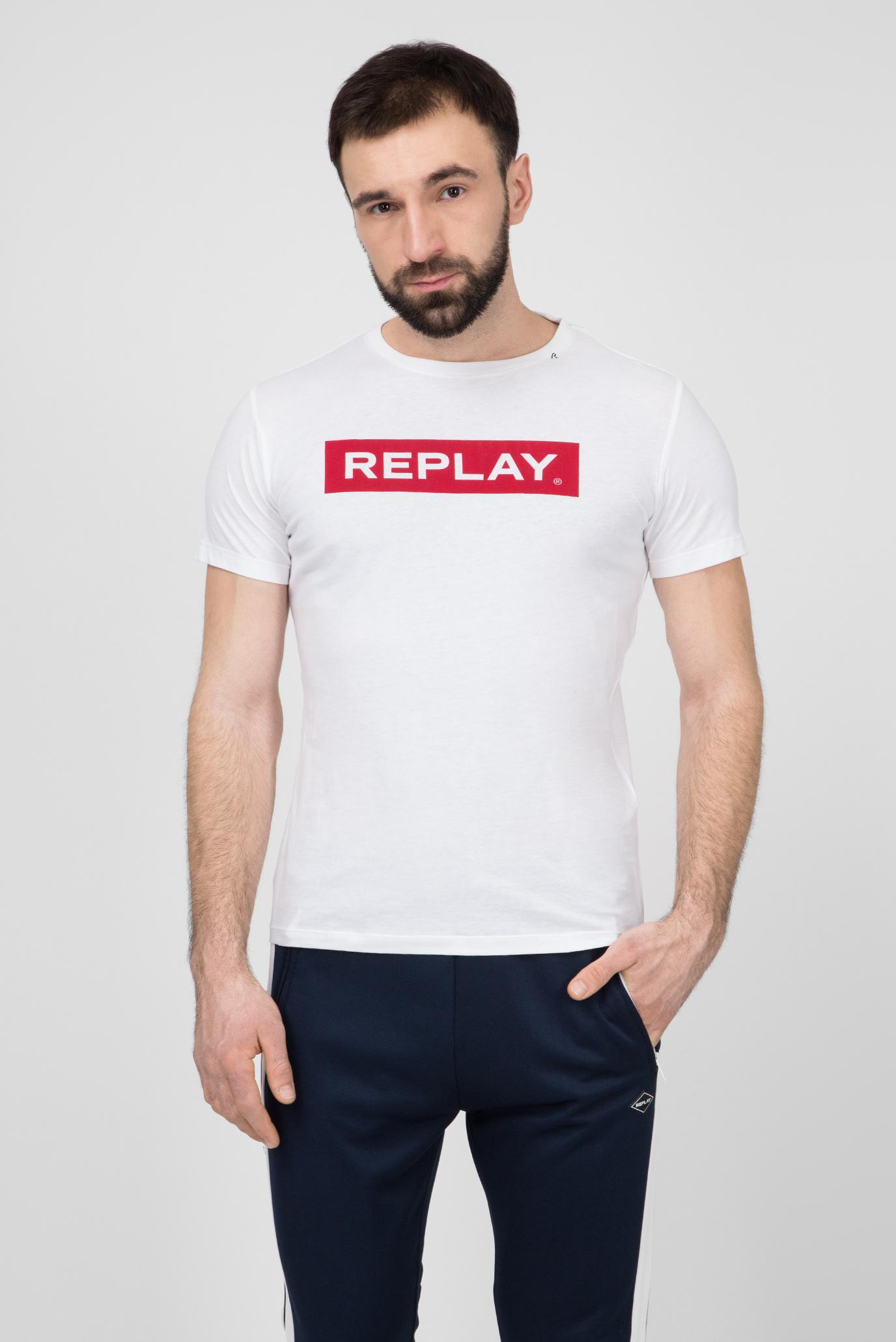 Мужская белая футболка с принтом Replay